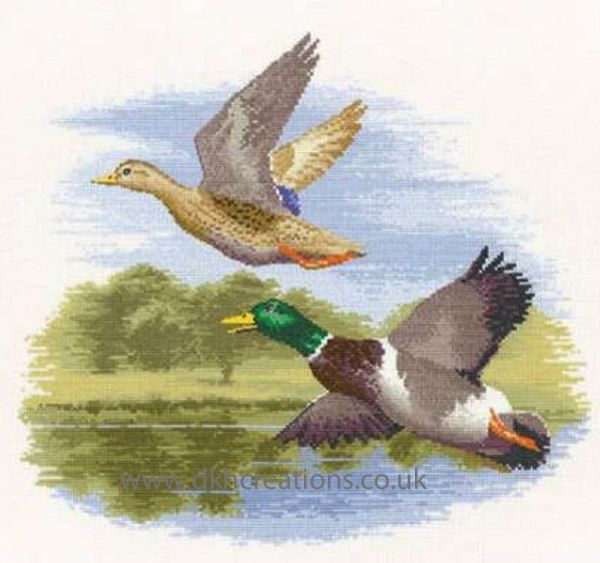Mallard Ducks In Flight Cross Stitch Kit